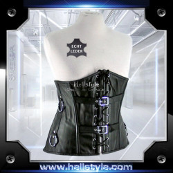 HellStyle Corsage - Sheep-Nappaleder  Rings and Buckles Black